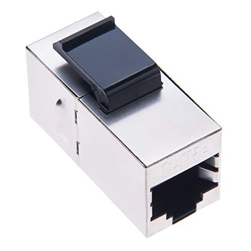 Adaptador de Acoplador RJ45 de Keple | RJ45 Hembra Doble Conector | Empalme RJ 45 para STP CAT6, CAT5, CAT5e Ethernet LAN Cable de Red Prolongador & Keystone Wall Faceplate | Metálica