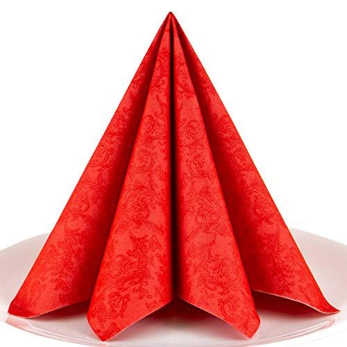Servietten Ornament rot Premium Airlaid, STOFFÄHNLICH | 50 Stück | 40 x 40cm | Hochzeitsserviette | hochwertige edle Serviette für Hochzeit, Geburtstag, Party, Taufe, Kommunion | made in Germany
