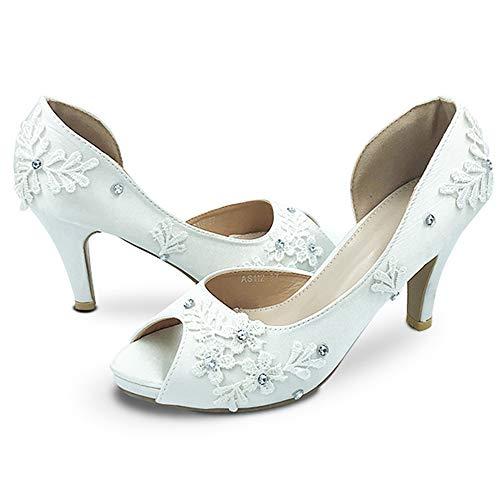 Hakken trouwschoenen bruidsschoenen 8cm Open teen Witte kanten bruid sexy Satijnen diamant kanten bloem open zijkant zomer