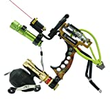 HBG HANDBAIGE Powerful Fishing Slingshot Outdoor Catapult Archery Slingbow Arrows Ammo 2 in1 Slingshot with Arrow Brush,Fishing Reel,Fishing Reel Rack,Flashlight,4 Replacement Bands