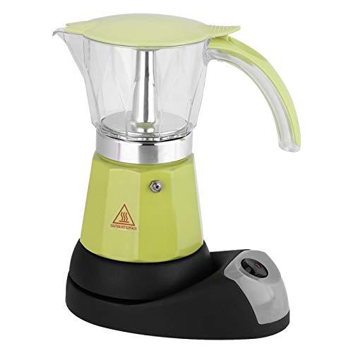 Cafetera eléctrica, 300 ml/6 tazas 480W Olla eléctrica Moka Olla de cocina desmontable Cafetera de gran capacidad para capuchino o café con leche(Verde)