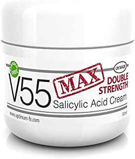 V55 MAX Double Strength Salicylic Acid Cream for Spots Blackheads Milia Blemishes Problem Skin Suitable and Safe for those Prone to Acne - Paraben and Cruelty FREE - 50 grams