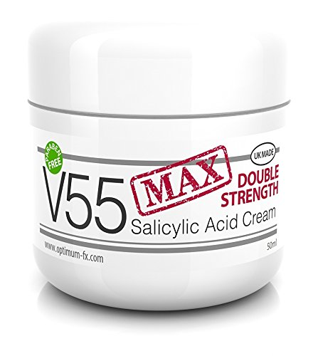 V55 MAX Double Strength Salicylic Acid Cream for Spots Blackheads Milia Blemishes Problem Skin Suitable and Safe for Those Prone to Acne - Paraben and Cruelty Free - 50ML