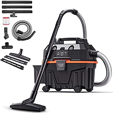 Shop Vacuum Wet and Dry, 4.5 Peak HP 5-in-1 Vacuum Cleaner 4 Gallon, Multi-Functional Shopvac with Adjustable Airflow and 5-Layer Filtration System, 5ft Hose, Useful Accessories Included