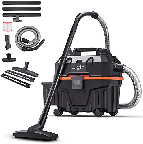 Shop Vacuum, 4.5 Peak Hp Wet Dry Vacuum 4 Gallon, Lightweight Powerful Suction with Blowing 3 in 1 Function, 5 ft Hose, Low Noise, Suitable for House, Garage, Basement, Workshop
