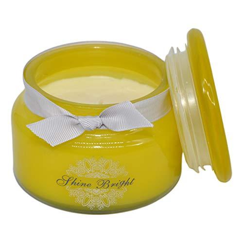 Marissa's Gifts - Vela de cera de soja brillante en tarro de cristal amarillo con caja de regalo fragancia de abeto bálsamo