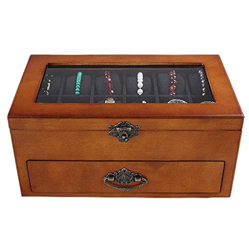 ZTMN Cajas de colección con Tapa de Almacenamiento y exhibición Caja de organizadores de Reloj de Madera Caja de 24 Ranuras Pantalla Caja de Almacenamiento de colección de Joyas Tapa de Vidrio Fo