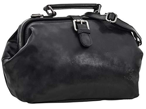 Gusti Umhängetasche Leder - Lillith Vintage Ledertasche Handtasche Arzttasche Schwarz Leder