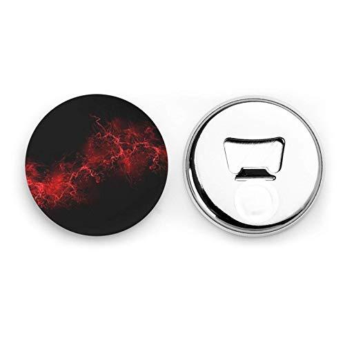 Explosion Burst Abridores de botellas redondos negros rojos / Imanes de nevera Etiqueta magnética de acero inoxidable 2 piezas