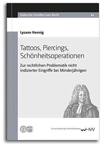 Tattoos, Piercings, Schönheitsoperationen: Zur rechtlichen Problematik nicht indizierter Eingriffe bei Minderjährigen
