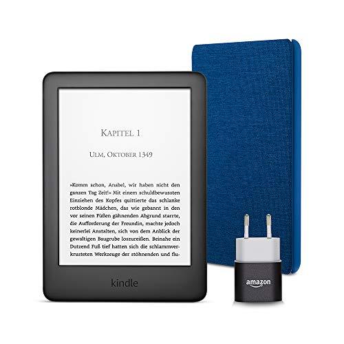 Kindle Essentials Bundle mit einem Kindle (Schwarz) ohne Spezialangebote, einer Amazon-Hülle aus Stoff (Blau) und einem Amazon Powerfast 5-W-Ladegerät