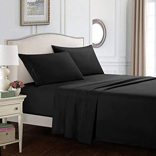 Cama plana kit de textiles para el hogar de cuatro piezas de color simple ropa de cama sábanas de cuatro piezas de color liso kit de sábanas de 14 pulgadas-negro99 * 190 cm + 35 cm (3 piezas)