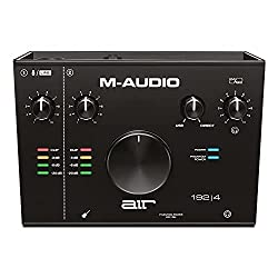 Picture of the M-Audio AIR 192|4, a budget audio interface that's nice and affordable. Black slick design.