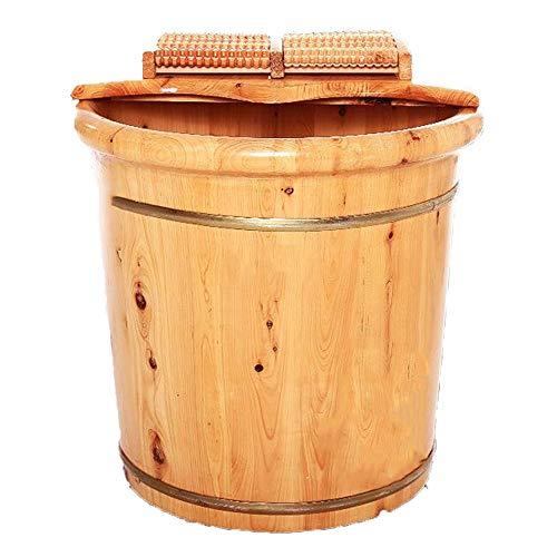 Fußwanne, Fußbad, Holzfass für Gesundheit, Massage, Isolierung, Zeder (41 x 40 cm), einfarbig