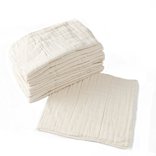 Humble Bebe Prefold Cloth Diapers - 12 Pack - Unbleached Premium Cotton, 4x8x4, Pre-Washed, Fits Newborn Babies to Toddlers (10-30 lbs), Multi-Use
