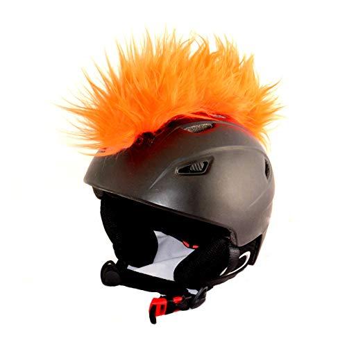 Helm-Irokese für den Skihelm, Snowboardhelm, Kinderskihelm, Kinderhelm, Motorradhelm oder Fahrradhelm - Der HINGUCKER für Kinder und Erwachsene HELMDEKO (Orange)