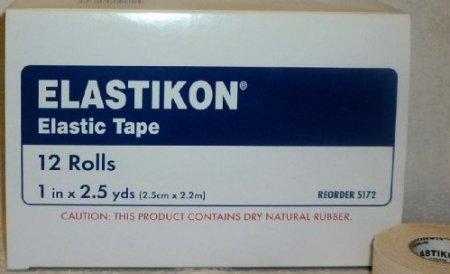 Johnson & Johnson First Aid Elastikon Elastic Tape, 1 Inches X 5 Yards (Box of 12 Rolls)