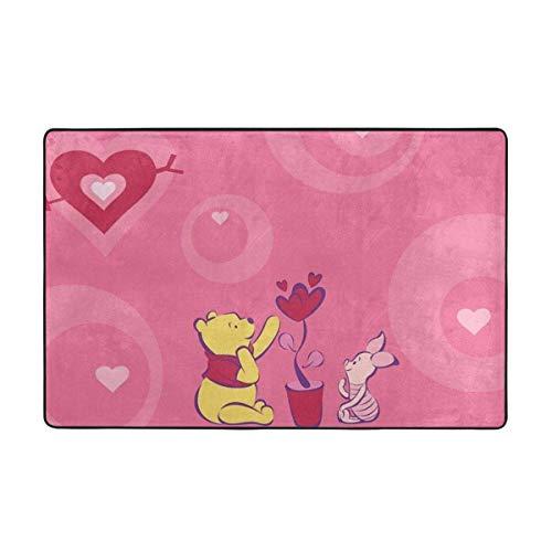 Alfombra antideslizante grande de Winnie Pooh con dibujos animados para sala de estar, felpudos de 60 x 39 pulgadas