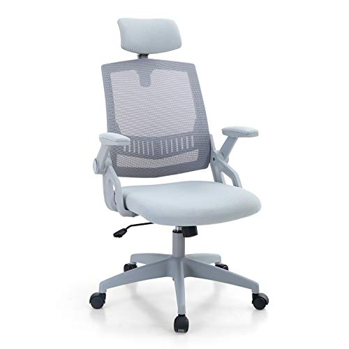 PHI VILLA Office Desk Chair with Headrest - Ergonomic Home Office Mesh Desk Chairs with Wheels and Armrest,Adjustable Height for Women and Men,Maximum Load Capacity:250 lbs,Light Blue