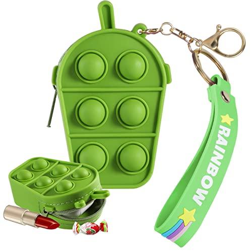 STSNano Fidget Fidgets Monedero Monederos Coin Purse Juguete Toys Toy para Chicas Niños Adolescente Pouches Mini Silicona Lindo Kawaii Pequeño Small Bolsas Bolsa Pequeño Cambio (Green Grape)
