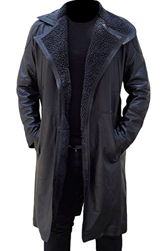 Ryan Gosling Blade Runner 2049 Fur Mens Officer K Black Leather Fur Coat Jacket Gr. M, Schwarz