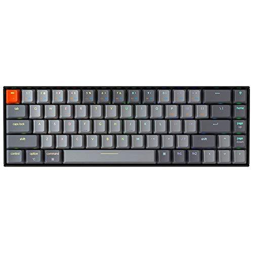 Keychron K6 68キーBluetoothワイヤレス/USB有線ゲームメカニカルキーボード、RGBバックライト/光学レッド...