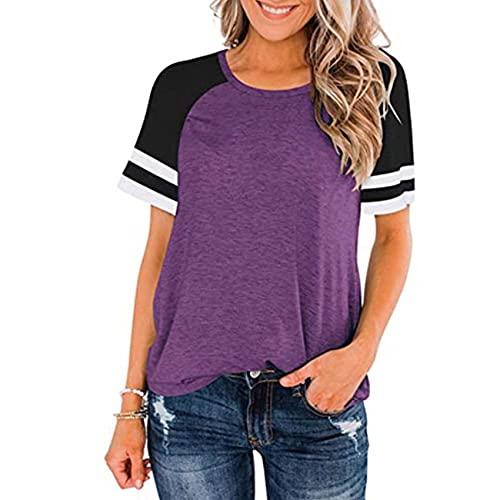 Primavera y Verano Suelta Mujer Manga Corta Cuello Redondo Color a Juego Chaqueta Casual Camiseta Deportiva Mujer
