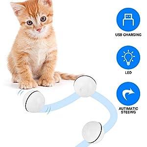 YOUTHINK Pelota de Gatos Juguete para Gato Interactivo, Bola de Juguete para Gato con Carga USB, Juguetes de Gato con Luz LED Giratoria Automática de 360 ° para Perseguir y,Jugar 14