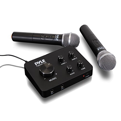 Pyle Portable Home Theater Karaoke Microphone Mixer System Set w/ Dual UHF Wireless Mic, HDMI & AUX, Audio Play via Device Speaker & Works with TV, Receiver, Amplifier, Speaker - PDWMKHRD22WM,Black