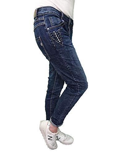 Karostar by Lexxury Denim Elasticizzato Baggy-Boyfriend-Jeans Boyfriend 4 Bottoni Aperto con Bottoni Altri Colori - Denim Stelle Brillanti, 4XL-48