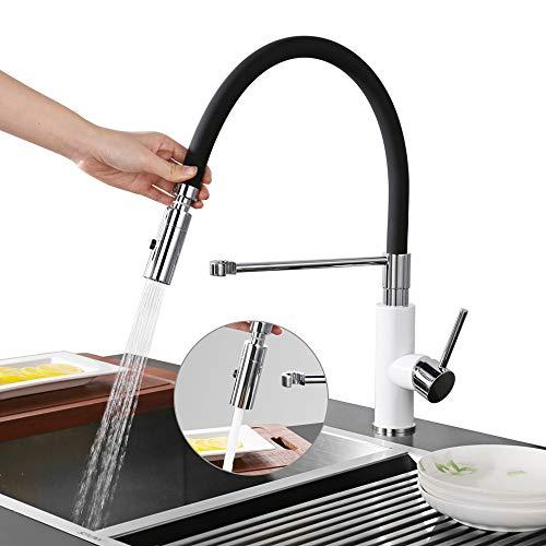 DESFAU 2 funciones Grifo de cocina extraíble 360° Giratorio Grifo de Fregadero Monomando de Fregadero Grifería cocina Agua Fría y Caliente Cromado