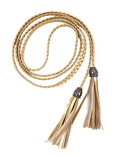 TeeYee Mujeres PU cuero exótico tejido cintura cinturón/cuerda/cadena con borla (oro/cuenta de plata, L)