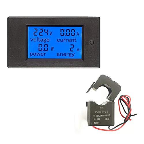 Ballylelly Digital Power Meter Monitor 100A AC Voltmetro Amperometro Wattmeter Khw Tester di energia Tester Con Split/Bobina CT Versione inglese