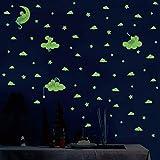 QAZWSX 3 Stück/Set Cartoon Maus Katze Leuchtende Wandaufkleber Sterne Mond Schlafzimmer Wohnkultur Wandbild Kinderzimmer Im Dunkeln leuchten Aufkleber