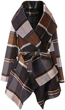 Hengshikeji Women s Turn Down Collar Asymmetric Hem Thin Plaids Wrap Dress Coat product image