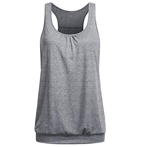 TUDUZ Damen Rundhals Stretch Sport Top Cute Racerback Yoga Workout Sommer Shirts Tank Top (L,Grau)