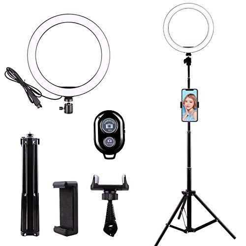 Anself Selfie LED-Ring Light con trípode 3 en 1 Soporte multifunción Soporte para teléfono diverso Controlador Lámpara de relleno para escritorio regulable Maquillaje Luz de anillo