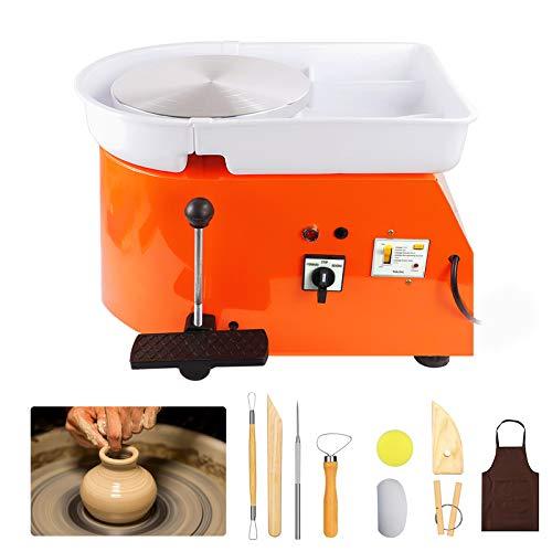 Tekchic Pottery Wheel Machine 25CM 350W Electric Pottery DIY Clay Tool with Foot Pedal - Orange