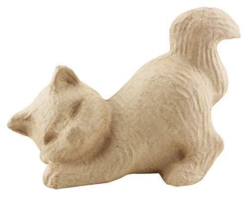 Décopatch SA115O Träger S aus Pappmaché, Katze schmusend, 20 x 15 x 10,5 cm, zum Verzieren, Kartonbraun