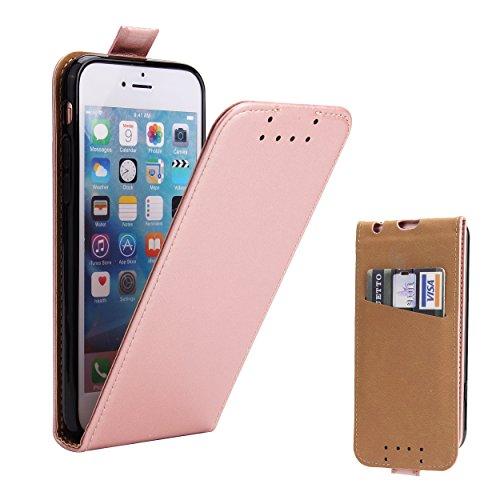 Supad Coque iPhone 6, Coque iPhone 6S, Etui à Rabat Protecteur en Cuir véritable pour Apple iPhone 6/6S 4,7 (Or Rose)