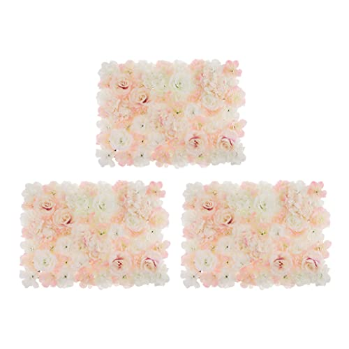 LOVIVER 3Pcs Artificial Flower Wall Panels, Flower Wall Mat Silk Flower Panels, for Wedding Party...