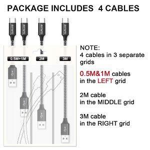 AVIWIS USB Typ C Kabel [4Pack 0.5M 1M 2M 3M] 3A USB C Ladekabel und Datenkabel Fast Charge Sync Schnellladekabel Kompatibel für Samsung Galaxy S10/ S9/ S8, Huawei P20/ Mate20 OnePlus, Google -Schwarz