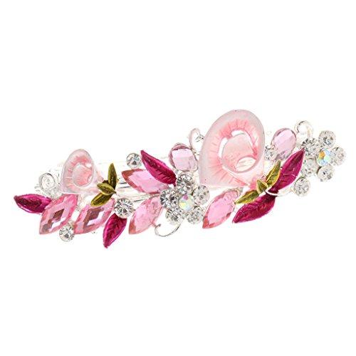 Generic Haarspange,mit Kristall Strass, Blume Form, Haarschmuck, Für Damen - Rosa