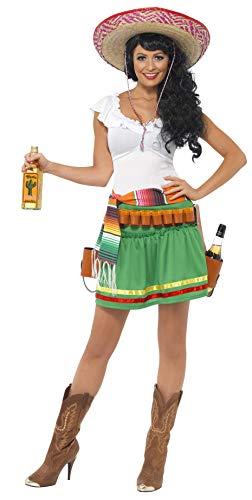 Smiffy's-29132M Miffy Disfraz de tiradora de Tequila, con Vestido, Rayas y cinturón con Funda de Pistolas, Color Verde, M-EU Tamaño 40-42 (29132M)
