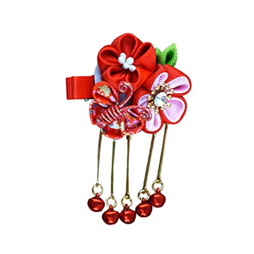 Amosfun Japanese Style Hair Clip Butterfly Sakura Pattern Barrette Archaistic Tassel Hairpin Headwear Hair Accessories for Girls Women (Red)