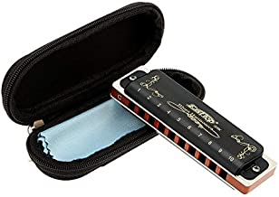 East top Harmonica Key of C 10 Hole 20 Tone Diatonic Blues Harmonica Mouth Organ with Case Top Grade for Professional Player,Beginner,Students,Children,Kids Birthday Gift
