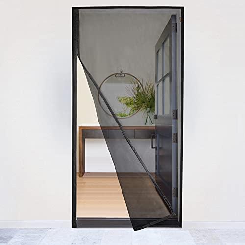 MAGZO Magnet Fliegengitter Tür 90x210cm von der Seite öffnen, Verstärkt Fiberglas Insektenschutz Fliegenvorhang für Balkontür Wohnzimmer Schiebetür Terrassentür, Ohne Bohren