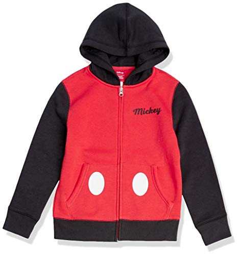 Amazon Essentials Disney Star Wars Marvel Fleece Zip-Up Sweatshirt Hoodies Felpa, Rosso/Nero, Topolino/Color Block, 9-10 Anni