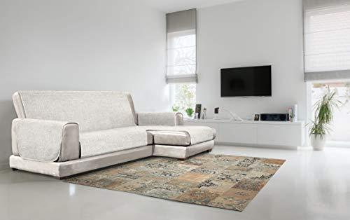 Italian Bed Linen Copridivano Antiscivolo Comfort con Penisola DX, Panna, 240 cm