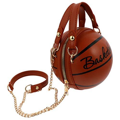 VALICLUD クリエイティブバスケットボール型バッグpuレザーラウンドハンドバッグショルダーバッグファッション牛クロスボディバッグファッション冬メッセンジャートートバッグ女性の女の子(茶色)